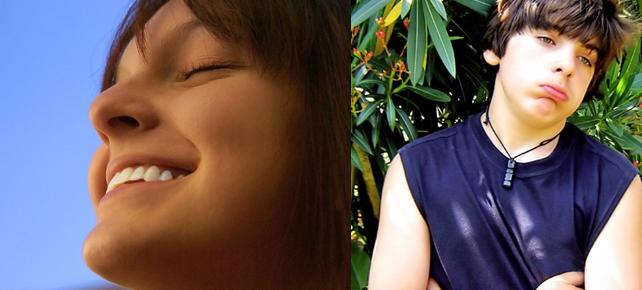 Närbild glad tjej och trumpen kille av två ihopklippta bilder