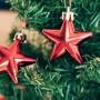 Närbild av två röda julstjarnor som hänger i en julgran