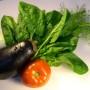 Aubergine, tomat och sallad i närbild
