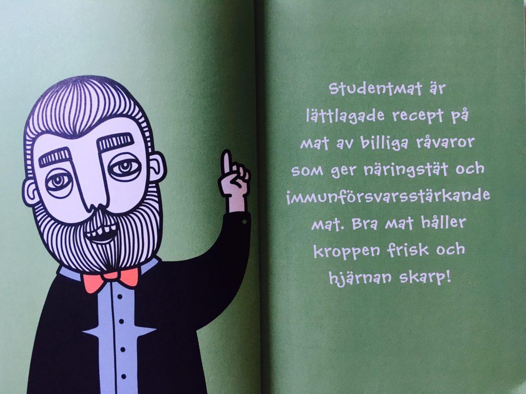 """Insida uppslag i """"Studentmat: snabba rätter som boostar kropp & hjärna"""" med definition på vad Studentmat är"""