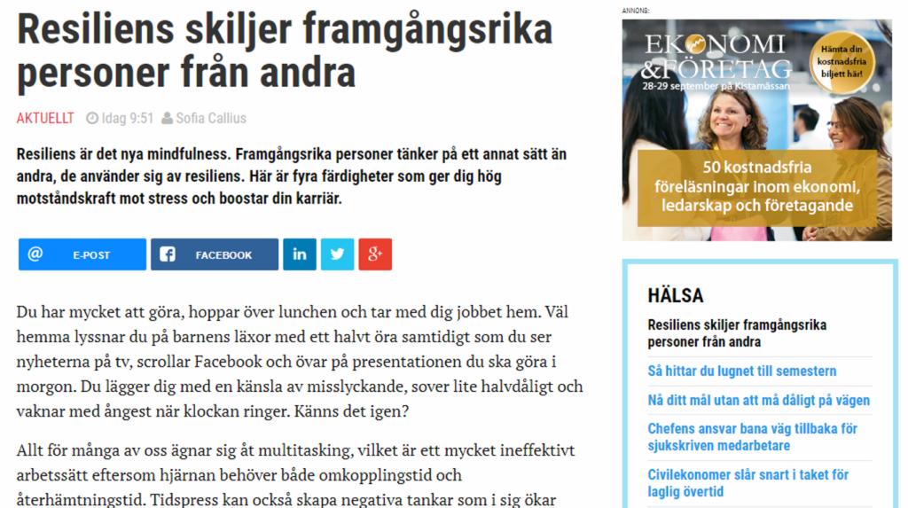 """En skärmdump från artikeln """"Resiliens skiljer framgångsrika från andra"""" på Civilekonomerna.se"""